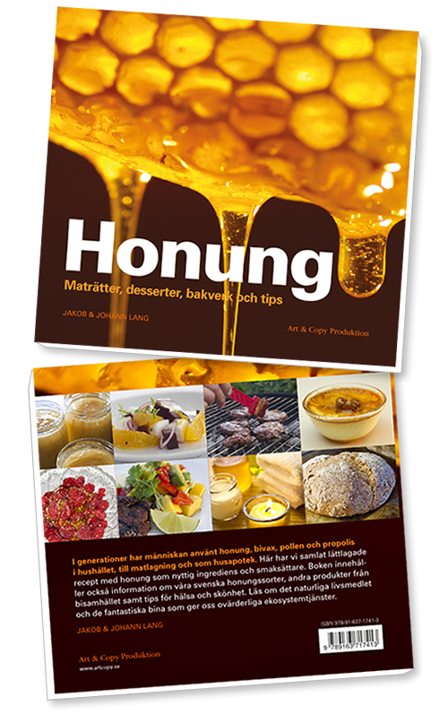 Honung – maträtter, desserter, bakverk och tips. Boken innehåller förutom recept med honung även information om våra svenska honungsorter, andra produkter från bisamhället samt tips för hälsa och skönhet.